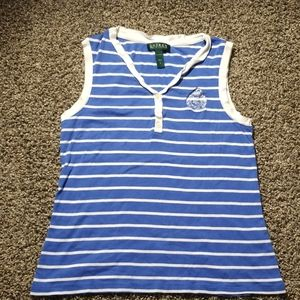 Cute blue and white Lauren tank top Small
